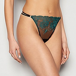 Ann Summers - Black embroidered mesh 'Singapore Sling' thong