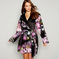 B By Ted Baker Black Fl Print Sunlit Dressing Gown