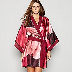 B by Ted Baker - Red floral print 'Porcelain Rose' satin kimono dressing gown