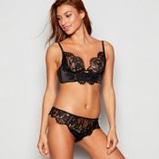 Reger by Janet Reger - Black lace up longline non padded underwired bra 7a38396a1