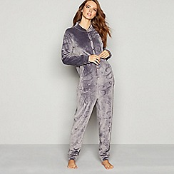 B by Ted Baker - Grey embossed bow hooded onesie