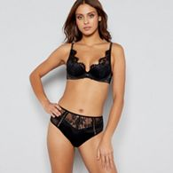 Reger by Janet Reger Black lace up longline non padded underwired ... a24d6dbac