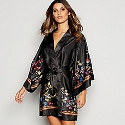 B by Ted Baker - Black Floral Print Satin  Opulent Fauna  Kimono Dressing  Gown e6f9d96ce6f3