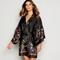 5aabe24812 B by Ted Baker - Black Floral Print Satin  Opulent Fauna  Kimono Dressing  Gown