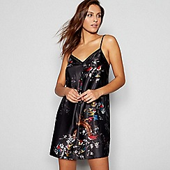 B by Ted Baker - Black floral bird print 'Opulent Fauna' satin chemise