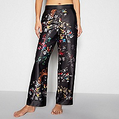 B by Ted Baker - Black fauna print 'Opulent Fauna' pyjama bottoms