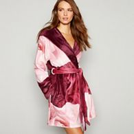 B By Ted Baker Wine Red Fl Print Porcelain Rose Dressing Gown