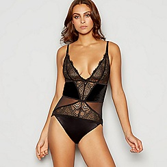 B by Ted Baker - Black floral lace velvet trim body