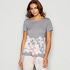 B by Ted Baker - Grey floral print 'Porcelain Rose' pyjama top