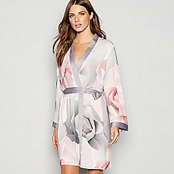 B by Ted Baker - Grey floral print 'Porcelain Rose' dressing gown