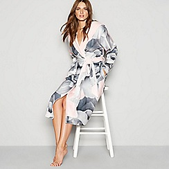 6edfb8c8d831 B by Ted Baker - Grey floral print  Porcelain Rose  hooded long dressing  gown
