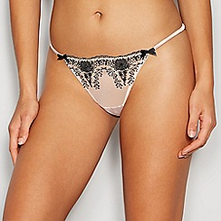 Reger by Janet Reger - Natural floral lace bow thong