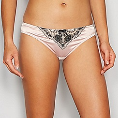 Reger by Janet Reger - Natural satin and lace 'Wren' Brazilian briefs