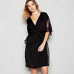 No. 1 Jenny Packham - Black Lace Mesh Kimono Dressing Gown