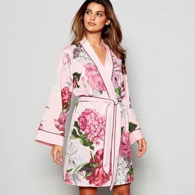 B By Ted Baker Black Floral Print Satin Opulent Fauna Kimono