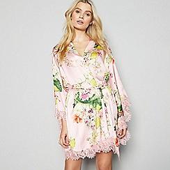 No. 1 Jenny Packham - Light Pink Floral Print Kimono Dressing Gown