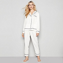 Nine by Savannah Miller - Ivory Pipe Trim Pyjama Set