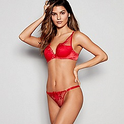 Reger by Janet Reger - Red Embroidered Mesh High Apex Underwired Padded Plunge Bra