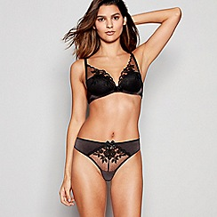 Reger by Janet Reger - Black Embroidered Mesh High Apex Underwired Padded Plunge Bra