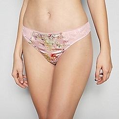 No. 1 Jenny Packham - Light Pink Floral Print Thong with Silk
