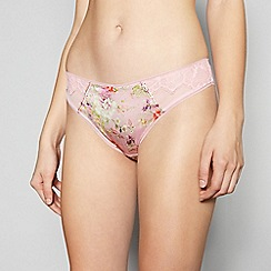 No. 1 Jenny Packham - Light Pink Floral Print Hipster Briefs with Silk