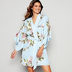 B by Ted Baker - Blue Floral Print 'Harmony' Kimono Dressing Gown