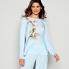 B by Ted Baker - Blue Floral Print Harmony Long Sleeve Pyjama Top