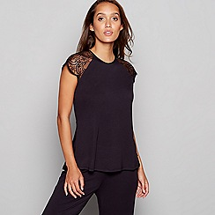 B by Ted Baker - Black lace short sleeve pyjama top