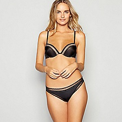Calvin Klein - Black lace trim 'Signature' underwired padded push-up plunge bra