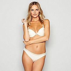 Calvin Klein - Ivory lace trim 'Signature' underwired padded push-up plunge bra