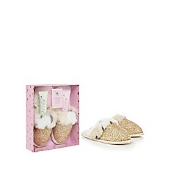 Luxe Edit - Gold faux fur sequin slippers