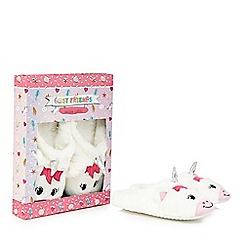 Cosy Friends - White faux fur unicorn slippers