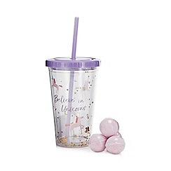 Cosy Friends - 'Believe In Unicorns' Smoothie Cup & Straw with Berry Smoothie Scented Bath Fizzers