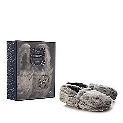 Dream - Grey faux fur microwavable slippers