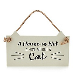 Spot & Mog - Wooden 'Without a cat' slogan sign