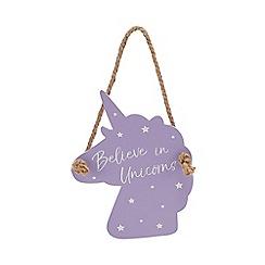 Unicorn World - Purple 'Believe In Unicorns' hanging sign