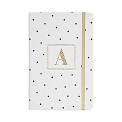 Monogram - White 'A' Spot Print A5 Notebook