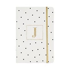 Monogram - White 'J' Spot Print A5 Notebook