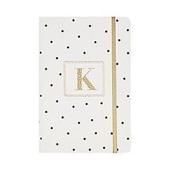 Monogram - White 'K' Spot Print A5 Notebook