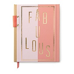 Designworks - Two-tone pink 'Fabulous' hard cover notebook with pen holder