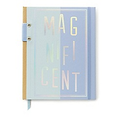 Designworks - Two-tone blue 'Magnificent' hard cover notebook with pen holder