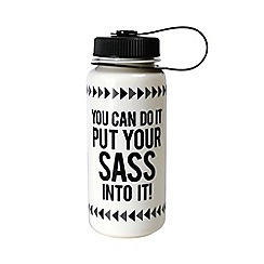 Alice Scott - Black and White 'Put Your Sass Into It' Water Bottle
