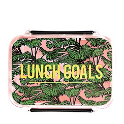 Alice Scott - Pink and Green Palm Print 'Lunch Goals' Lunchbox