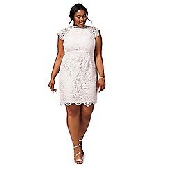 Chi Chi London - Pink 'Shannon' floral plus size lace dress