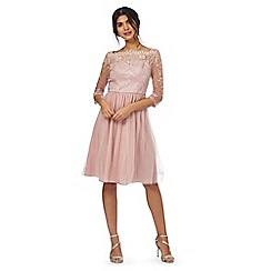Chi Chi London - Pink floral lace 'Charmayne' knee length skater dress
