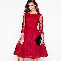 Chi Chi London - Dark pink embroidered 'Sian' round neck knee length evening dress