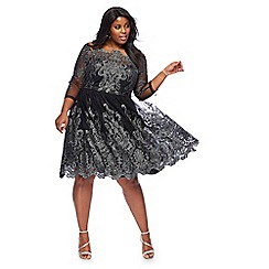 Chi Chi London - Black 'Lottie' metallic embroidered knee length plus size prom dress