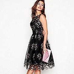 Chi Chi London - Black 'Rilana' lace mesh round neck sleeveless prom dress