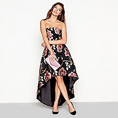 Chi Chi London - Black floral jacquard 'Cassie' sleeveless evening dress