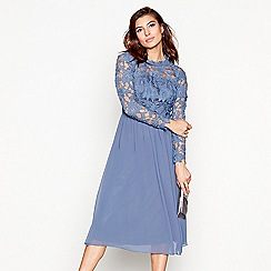Chi Chi London - Blue embroidered 'Natascha' high neck midi dress